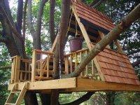 Домик с опирающейся на ветви дерева платформой