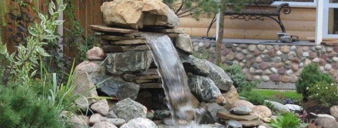 Декоративный водопад на даче своими руками фото