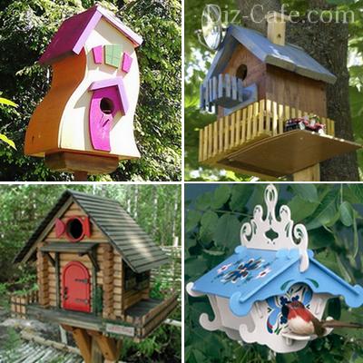Декоративно оформленные птичьи домики