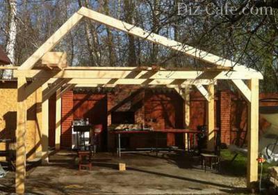 Двускатная крыша для летней кухни