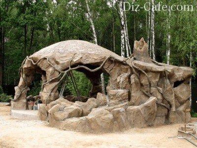 Беседка из камня и цемента