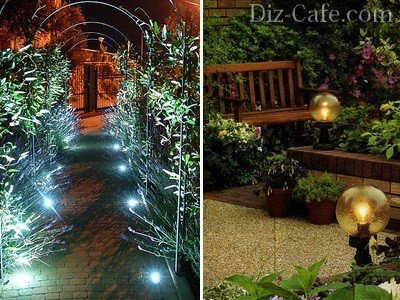 Ночная подсветка в саду