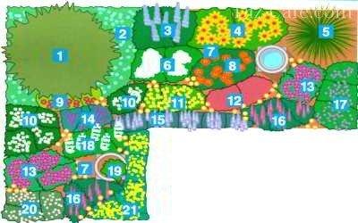 Схема размещения растений с разным периодом цветения
