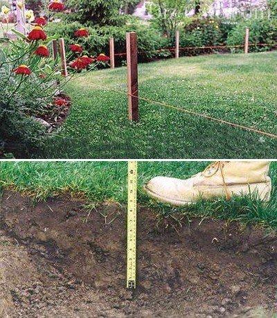 Разметка участка и снятие и снятие верхнего слоя грунта