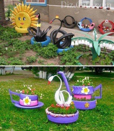 Украшение сада из подручных материалов