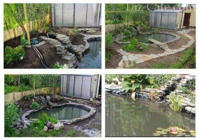 Наполнение пруда водой и установка оборудования