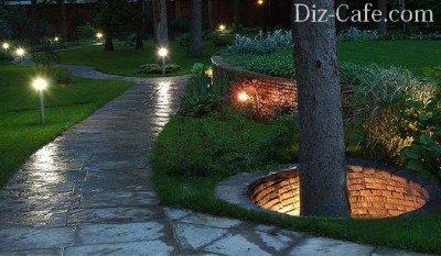 Подсветка дорожек и деревьев