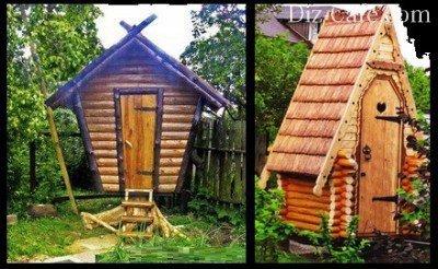 Дачный туалет, построенный в виде причудливой деревянной избушки