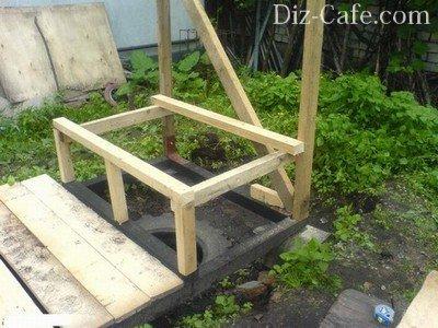 Сооружение деревянного каркаса дачного туалета