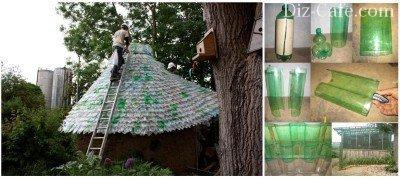 Крыша дома из пластиковых бутылок