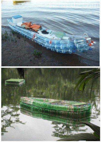 Лодка и плот из пластиковых бутылок