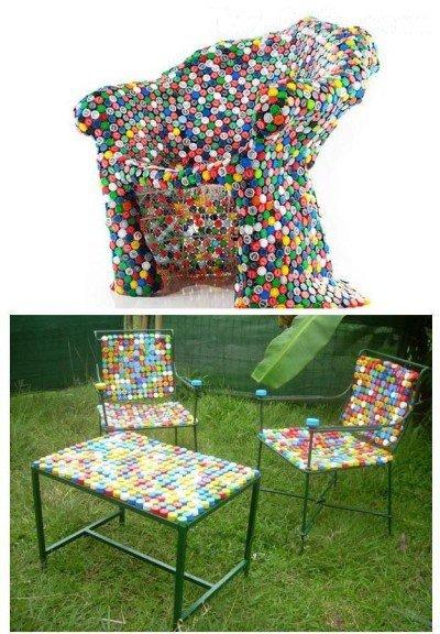 Садовая мебель из пластмассовых пробок