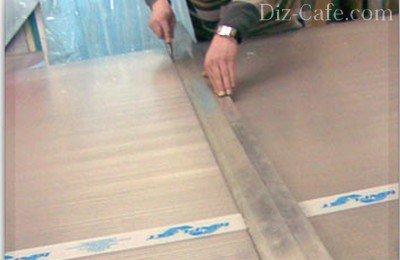 Нарезка листов поликарбоната на ровной поверхности