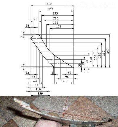 Схема раскроя крыльев окучника
