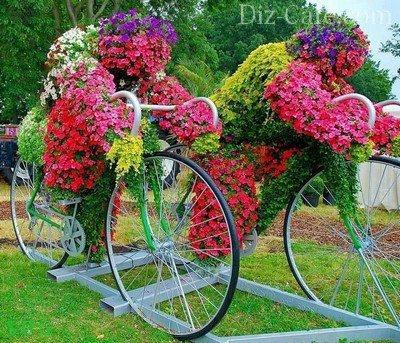 Эффектная цветочная композиция на велосипедах