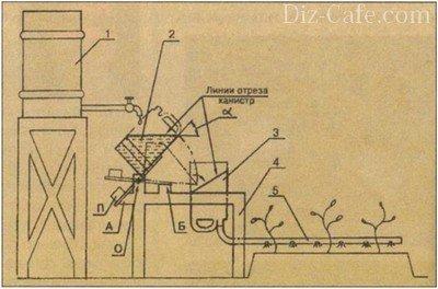 Схема самодельной установки для капельного полива тепличных  насаждений