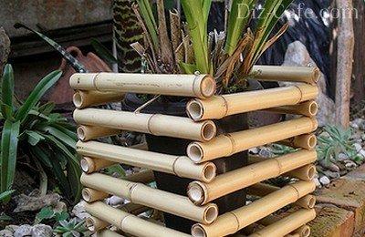 Декоративные кашпо из бамбука