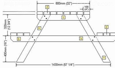 Схематичный чертеж дачного стола: вид сбоку