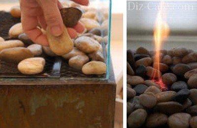 Оформление решетки камнями