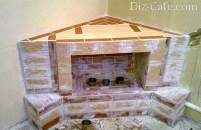 Облицовка камина кафелем