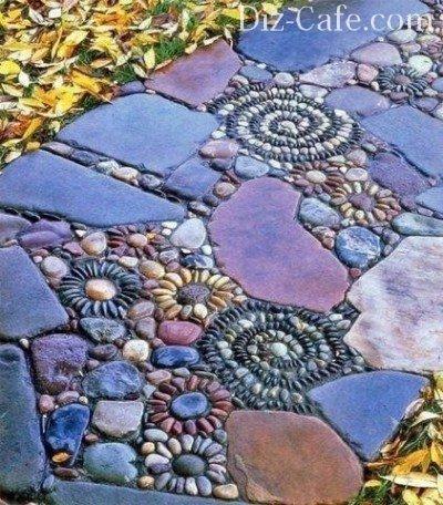 Комбинации гальки и дикого камня