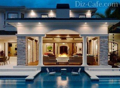 Гостиная, совмещенная с бассейном