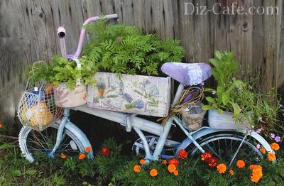 Вертикальный цветник из старого велосипеда