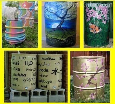 Декор бочек для воды