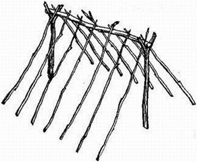 Схема каркаса двускатного шалаша