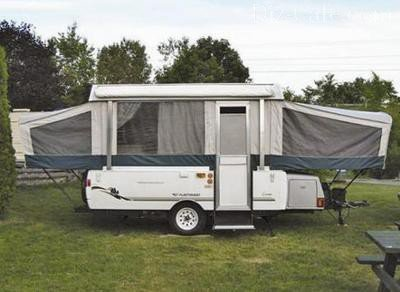 Серый прицеп-палатка