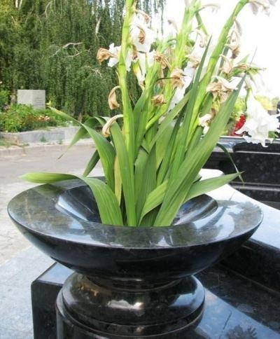 каменная ваза в саду