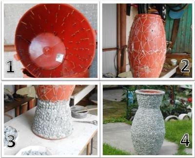 ваза из щебенки