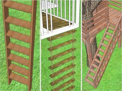 Вариант лестницы для домика на дереве