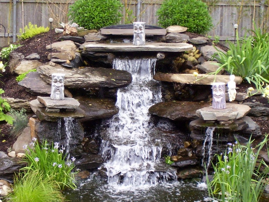 Водопад в саду своими руками фото