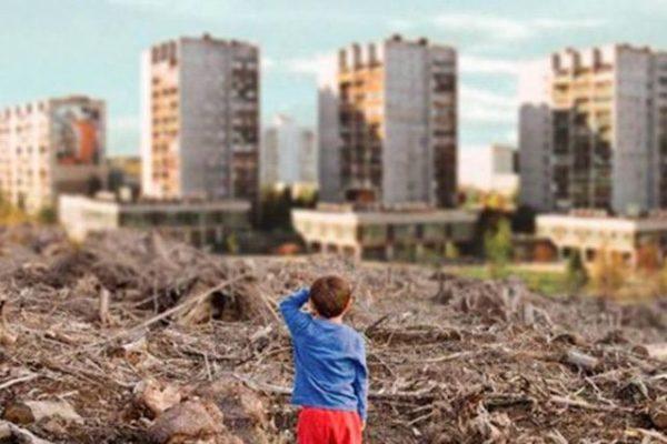 Мальчик на фоне вырубленных деревьев и новостроек