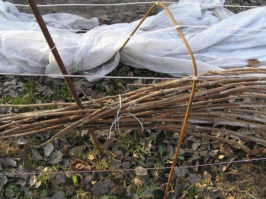 Укрытие малины на зиму агроволокном с помощью каркасов