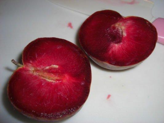 Разрезанная ягода чёрного абрикоса