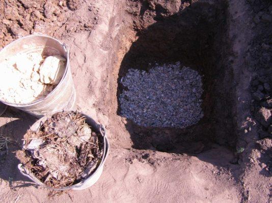 Посадочная яма с щебнем и вёдрами